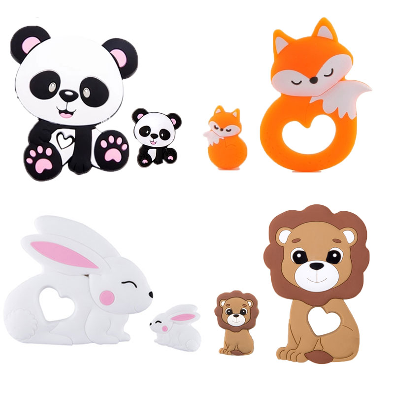 2Pc/Set Silicone Mini Lion Beads Silicone Teether Pendant Baby Toy DIY Nursing Necklace Pacifier Chain Tiny Rod For Baby Product