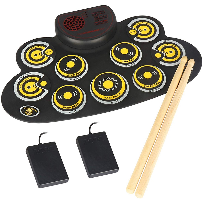 Electronic Drum Set Portable Electronic Roll Up Practice Pad Drum Kit With Built In Speakers Foot Pedals Drumsticks