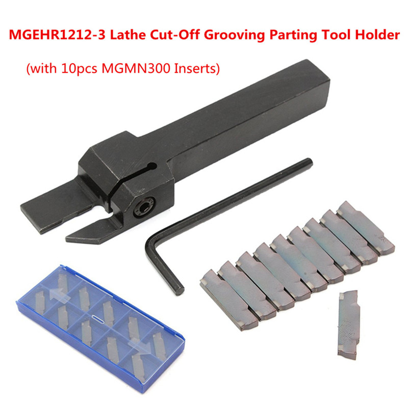10pcs MGMN300 Inserts + MGEHR1212-3 Lathe Cut-Off Grooving Parting Tool Holder Wrench Turning Tool Set Wood Metalworking Kit