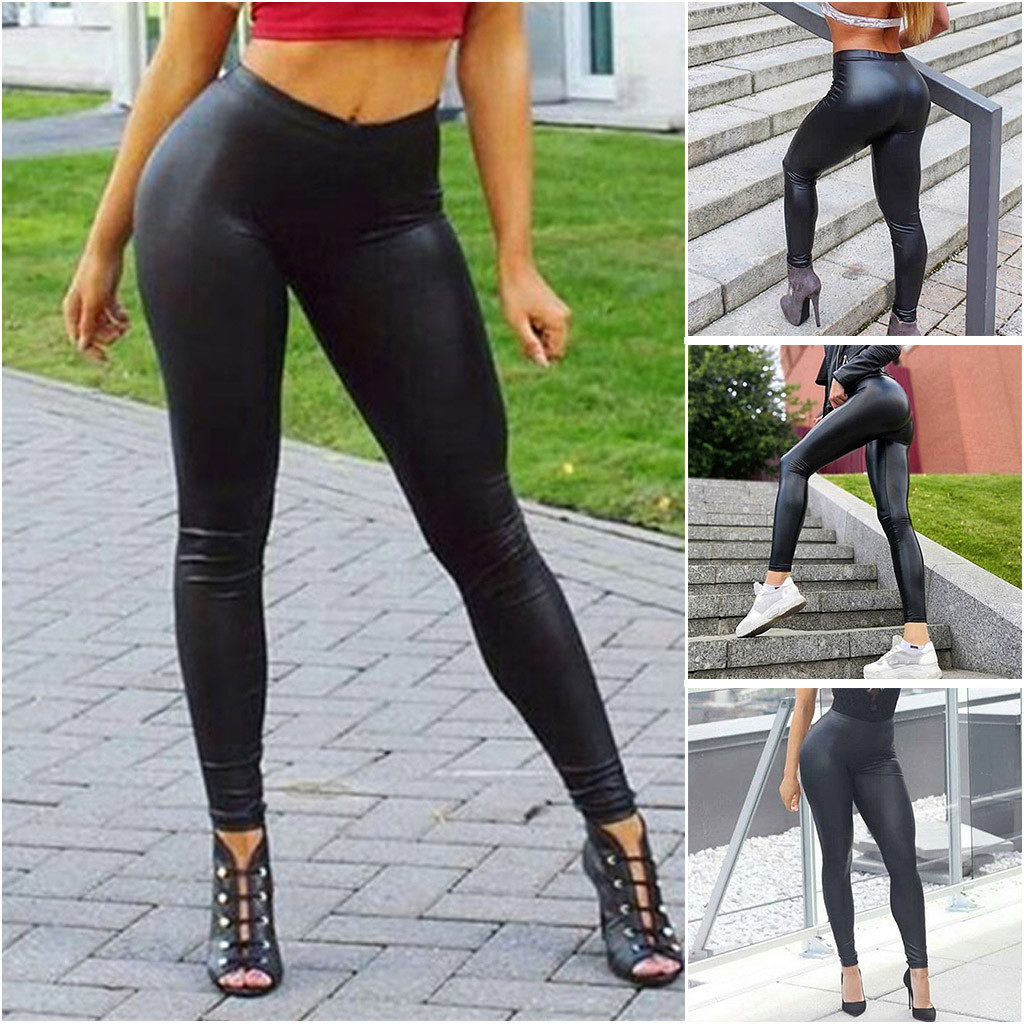 Fashion Women Leather Pant High Waist Bottom Pants Hip-up Bomb Slim Nine-minute Pants Leather Trousers Dropshipping #G3