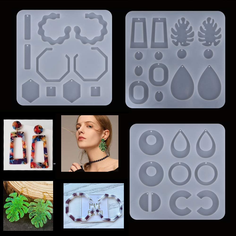 3 Pcs DIY Crystal Epoxy Earrings Resin Mold Ear Pendant Silicone Mould Handmade Jewelry Making Tools