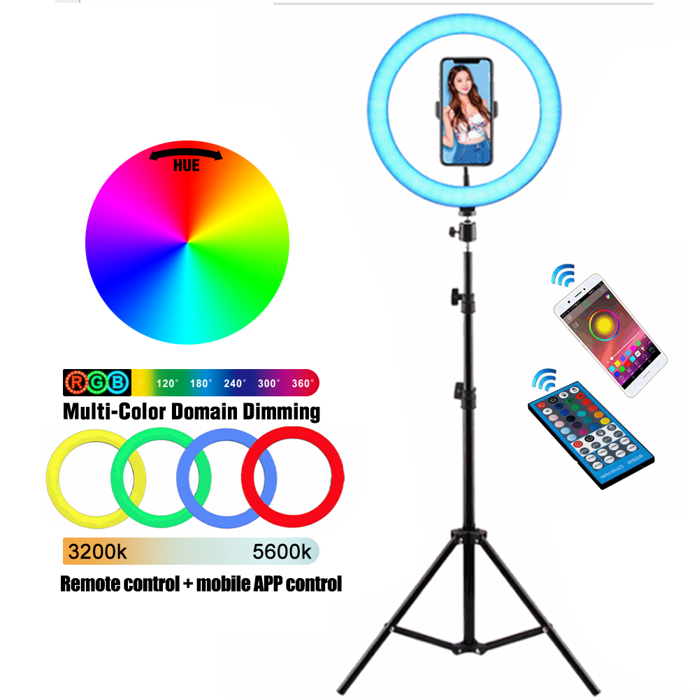 10   RGB LED Ring Light with Tripod Stand Tablet Phone Holder for Selfie Photo YouTube Tiktok Video Streamming Colorful LED Lamp