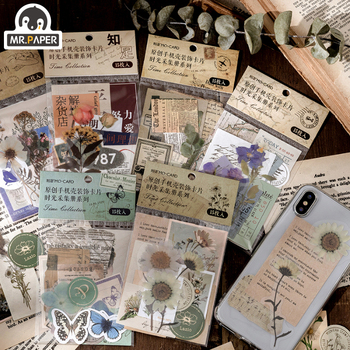 Mr.paper 15pcs Time Collection Paper Card Scrapbooking/Card Making/Journaling Project DIY Retro Phone Hangtag with Hole