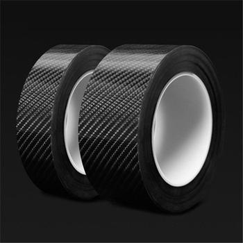 Car Door Sill Protector Bumper Protector Carbon Fiber Car Wrap Film 5D Gloss Automotive Wrap Film Self-Adhesive Anti-Collision image