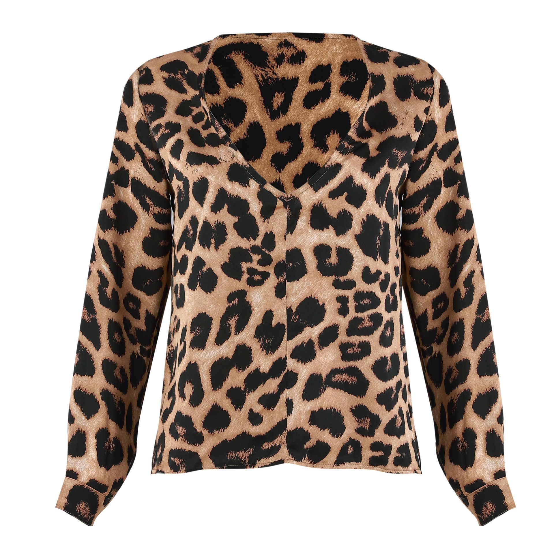W stylu Vintage kobiety panie Leopard Print luźna z długim rękawem, dekolt w serek Sexy topy bluzki kobiet mody koszulki z krótkim rękawem bluzki Top odzież hot