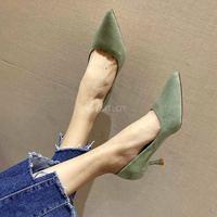 Туфли-лодочки женские замшевые заостренный носок высокий каблук без застежки 1