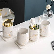 Matte Gold Keramik Bad Set Dekoration Seife Dispenser/Zahnbürste Halter/tasse/Seife Dish tray luxuriöse bad Waschen set(China)