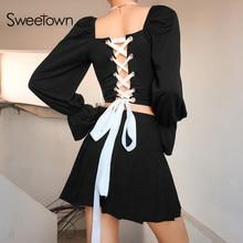 Sweetown 2019 Autumn Black Cross Bandage Crop Top T Shirts Women Butterfly Sleev