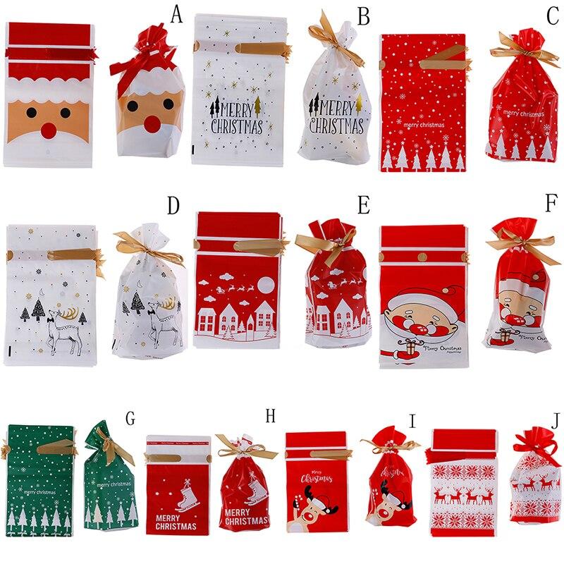10 шт рождественские пластиковые мешки для конфет Санта Клаус лося конфеты сладкое угощение сумки Рождество Новый год печенья сумки подарок