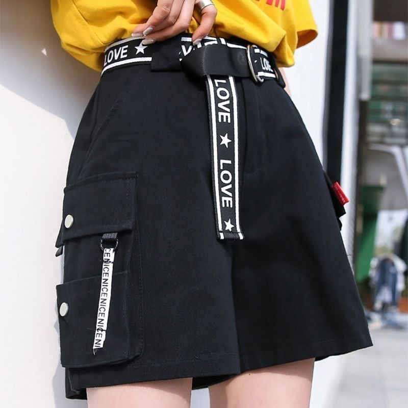 2020 Hip Hop Shorts Women BF Large Pocket Cargo Harajuku Loose Shorts Women Korean Ulzzang Trendy Street Summer Shorts 1