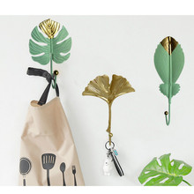 Nordic Light Luxury Golden Leaves Wall Hooks for Hanging Clothes No-punch Wall Hanger Coat Key Hook Decorative Home Organizer