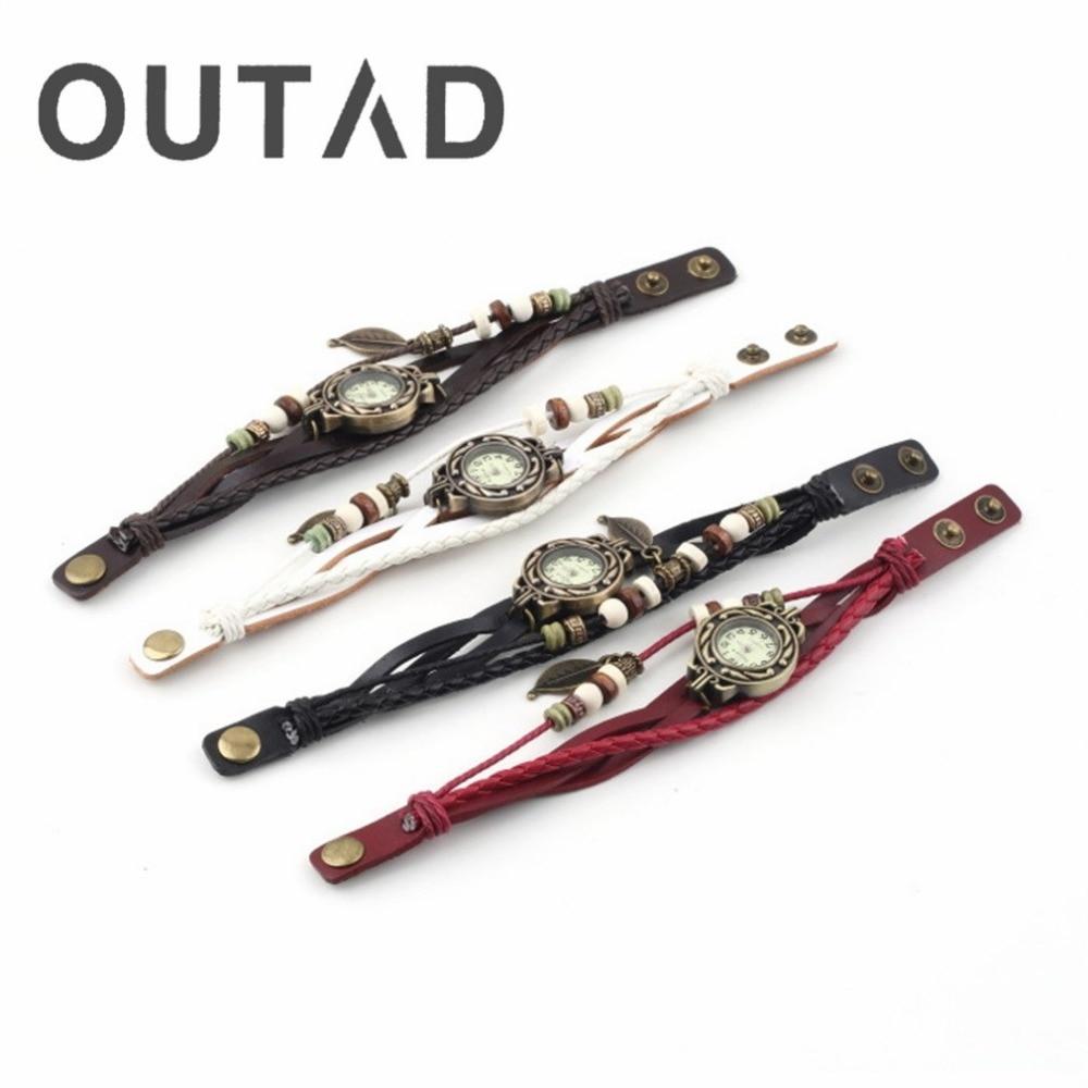 OUTAD Brand New 1Pc Women Watch Leaf Bracelet Watch Quartz Movement Wrist Watches Girl Female Drop Shipping Wholesale Wristwatch