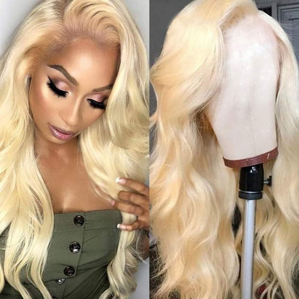 Human Hair 613 Blonde Lace Front Wigs Body Wave With Baby Hair For Black Women 13x4 Pre Plucked Free Part Body Wave 180% Density