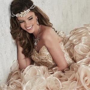 Image 4 - 2019 หรูหราแชมเปญเย็บปักถักร้อยคริสตัล Ball ชุด Quinceanera เดรสความยาว Vestidos De 15 Anos หวาน 16 ชุด