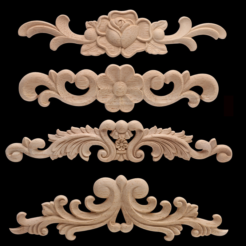 European Decal Door Heart Flower Spot Wholesale And Retail Wood Furniture Wood Carving Decorative Accessories Wood Decal Carved