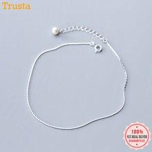 Trustdavis-bracelets de cheville en argent Sterling 100% pour femmes, chaîne serpent en perles, à la mode, bijoux en argent 925, vente en gros, DA387, 925