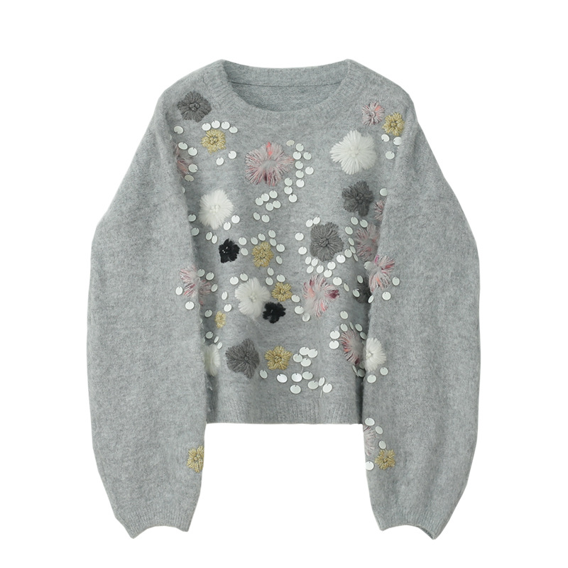 Thick Fall Winter Knitting Female Heavy Industry Embroidered Sequins Outside Wool Knitwear Women Knit Sweaters Pullover Luxury