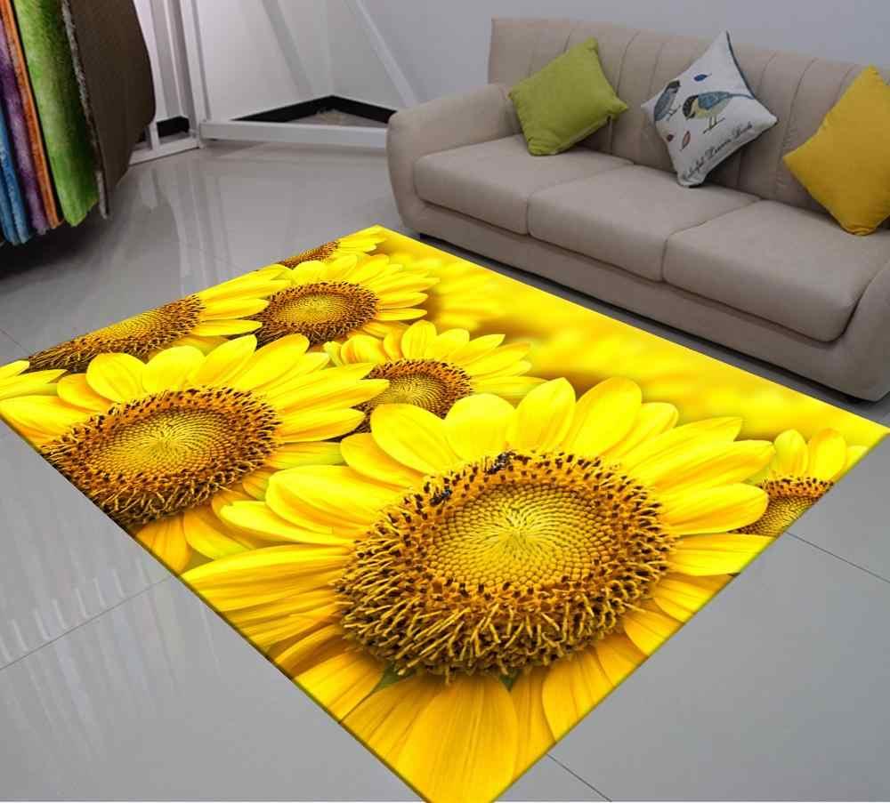 grand tapis de sol imprime tournesol 3d tapis de sol jaune et noir pour salon chambre d enfants
