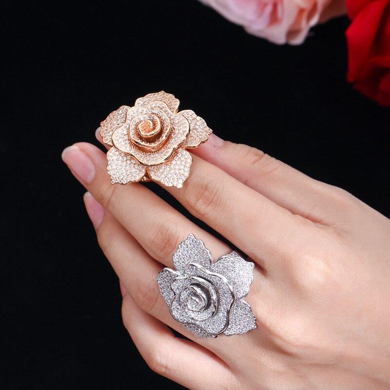 ERLUER déclaration marque bijoux anneaux pour femmes mode or rose cristal zircon fleur de luxe fête de mariage bague filleAnneaux   -