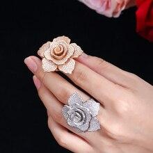 Erluer Verklaring Merk Sieraden Ringen Voor Vrouwen Mode Rose Gouden Kristallen Zirkoon Bloem Luxe Wedding Party Vinger Ring Meisje