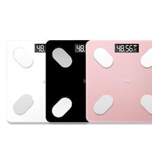 Waga elektroniczna USB akumulator inteligentna waga cyfrowa BT waga z 59 danymi pozycji połączenie BT transmisja głosowa tanie tanio CN (pochodzenie) DIGITAL Wagi domowe Szkło hartowane Plac 100 kg Tłuszczu pomiaru Stałe Digital Body Fat Electronic Scale