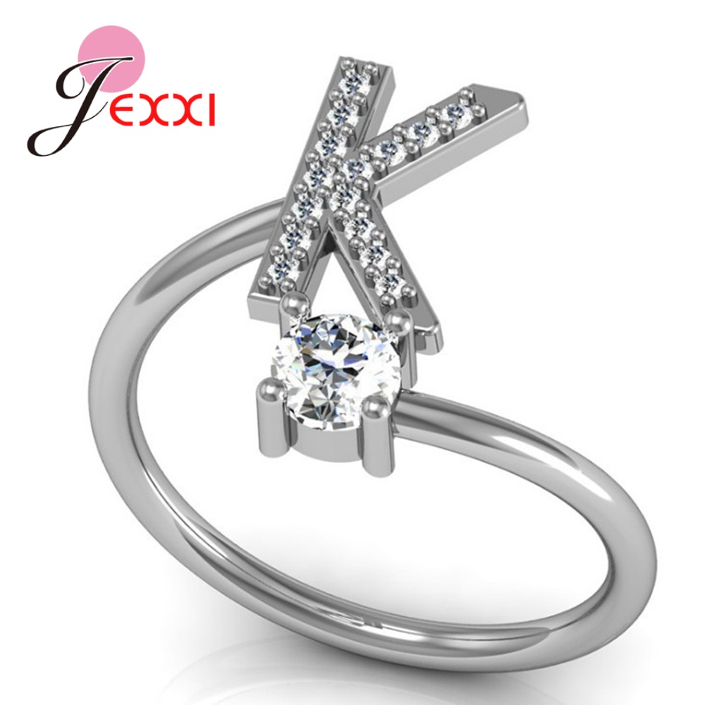 Hot Sale 925 Silver Ring Creative A To Z Initial 26 Letters CZ Crystal Paved Setting Name Jewelry for Women Men Drop Shipping 3