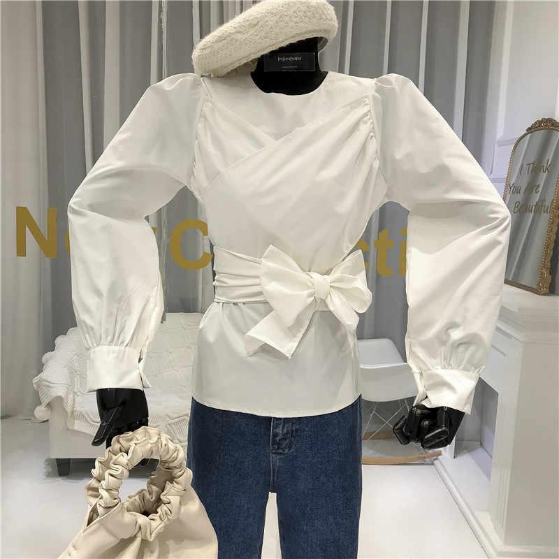 Rood Wit Blouse Vrouwen 2020 Voorjaar Boog Kant-Up Bladerdeeg Mouw Dames Slanke Riem Taille Shirt Vrouwen tops En Blouses Blusas