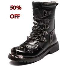 Military boots Winter Men Motorcycle Boots 19 Fashion Mid-Calf Punk warm Punk Shoes Mens Leather Black High top Casual Boot Man цены онлайн