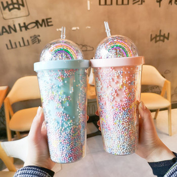 Podwójna warstwa tęczy plastikowa butelka wody ze słomką koreański styl kreatywny słodki kubek na kawa z mlekiem kubek do herbaty tanie i dobre opinie CN (pochodzenie) Z tworzywa sztucznego Dzieci Butelki na wodę Ekologiczne Na stanie SF9599 Obóz Wyposażone Brak Produkty na stanie