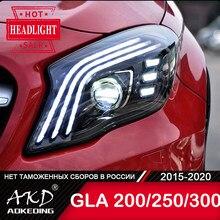 Dla samochodów Benz GLA200 lampa czołowa 2016-2020 akcesoria samochodowe światło przeciwmgielne światło dzienne DRL H7 LED Bi Xenon żarówka GLA260 300 reflektory