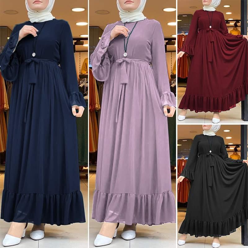 Dubai Abaya Turkey Hijab Dress Women Autumn Sundress Jilbab Islamic Clothing Caftan Marocain ZANZEA Long Sleeve Ruffles Sundress