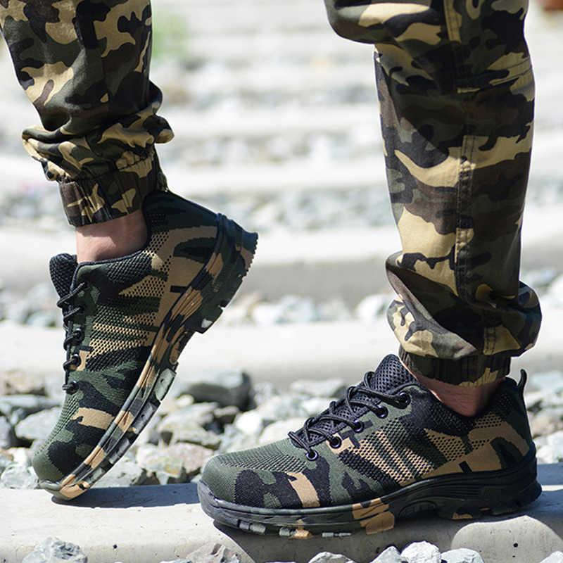Yadibeiba botas de trabalho de construção de aço ao ar livre toe cap sapatos de segurança camuflagem respirável tênis ao ar livre calçados de trabalho