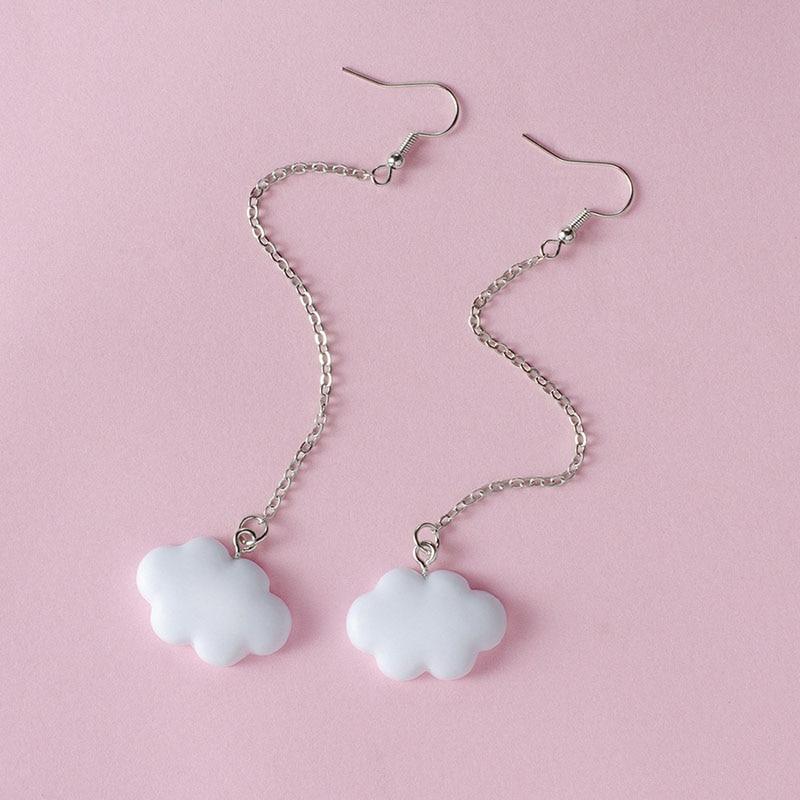 Модные Белые висячие серьги в Корейском стиле для женщин, Милые простые серьги в форме облака с цепочкой, простые женские украшения для ушей