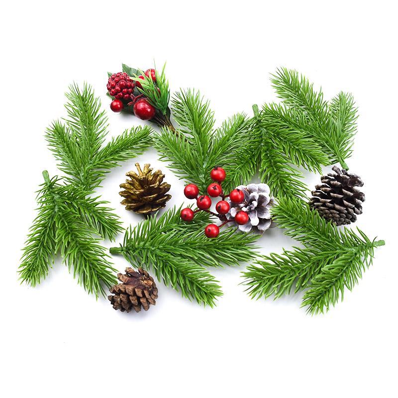 5/10 Pcs Artificial Plants Scrapbooking Christmas Decorations For Home Decorative Flowers Wreaths Plastic Pine Needle Diy Gifts