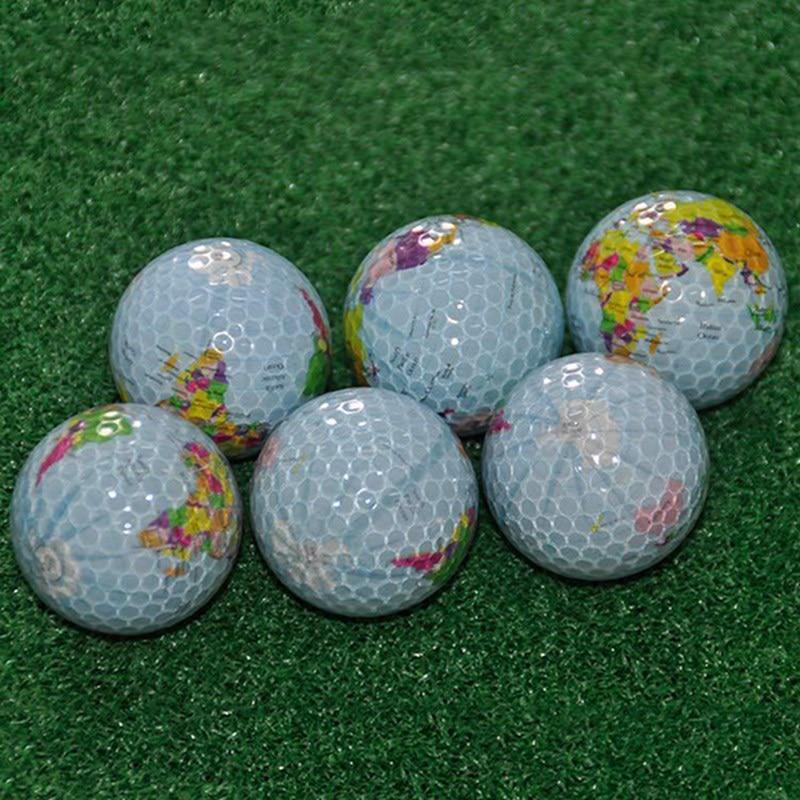Golf Balls Globe Map Pattern Practice Ball Gift Transparent Colorful Toys Massage Golf EKN98