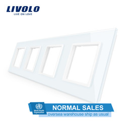 Livolo Luxe White Crystal Glass Switch Panel, 294 Mm * 80 Mm, Eu Standaard, quadruple Glass Panel Voor Muur Socket C7-4SR-11, Geen Logo
