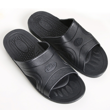 ESD SPU Black Soft Sole Comfortable Anti skid Anti static Slippers Clean Room Dust free Summer Factory Workshop Slippers