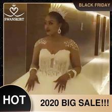יוקרה חרוזים כדור שמלת חתונת שמלת Swanskirt WZ02 מתוקה ארוך שרוול כלה שמלת אפליקציות משפט רכבת Vestido דה Noiva