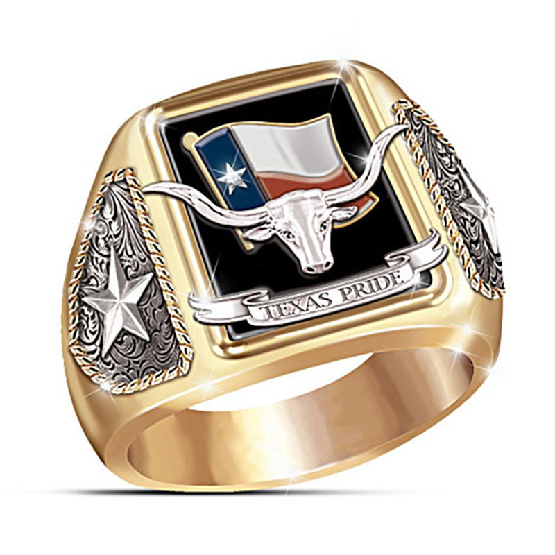 New Indian Chief Bull head Male Ring Classic Big Punk Hip Hop Viking Bull Star Gold Color Rings for Men's Jewelry Gifts