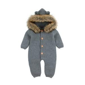 Зимние теплые детские комбинезоны, одежда для мальчиков, трикотажные комбинезоны с медведем для новорожденных, комбинезоны с капюшоном и длинными рукавами, Комбинезоны для маленьких девочек, наряды