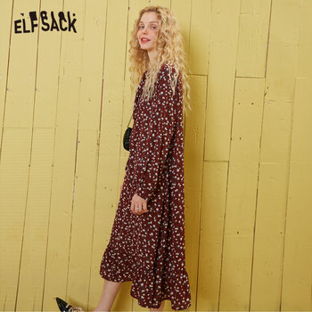 ELFSACK Burgundy Floral Print Tie Neck Casual Boho Chiffon Dress Women 2020 Spring Korean Lantern Sleeve Ladies Holiday Dresses 4