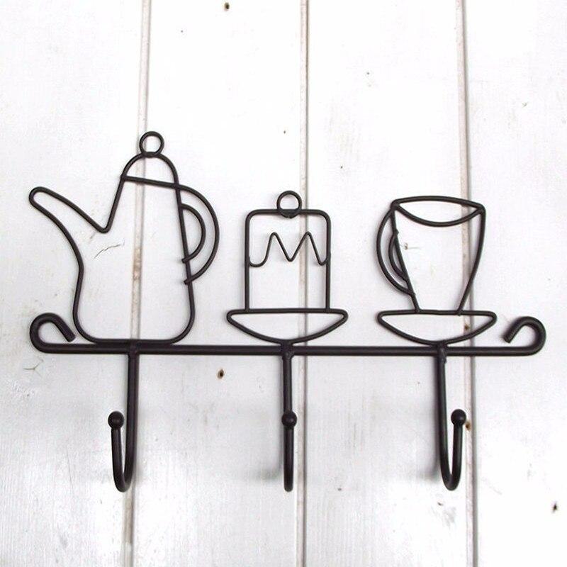 Offre spéciale créative fer crochet jardin décoration de la maison dessin animé tasse forme chapeau Rack vêtements cintre noir mode fer oreille fermoir 1 pièces - 5
