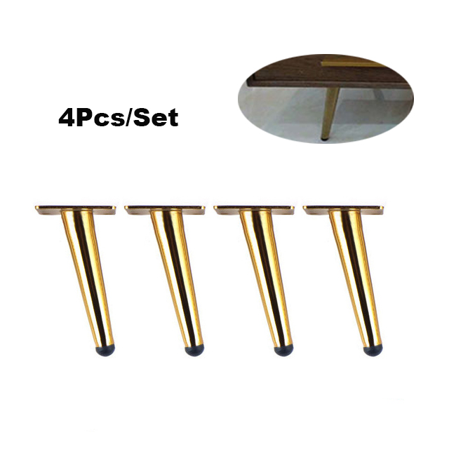 4 Pieces Of Metal Furniture Feet 15cm, Table, Cabinet Feet, Sofa Bed, TV Cabinet Feet With Mounting Screws, Gold Tilt Feet