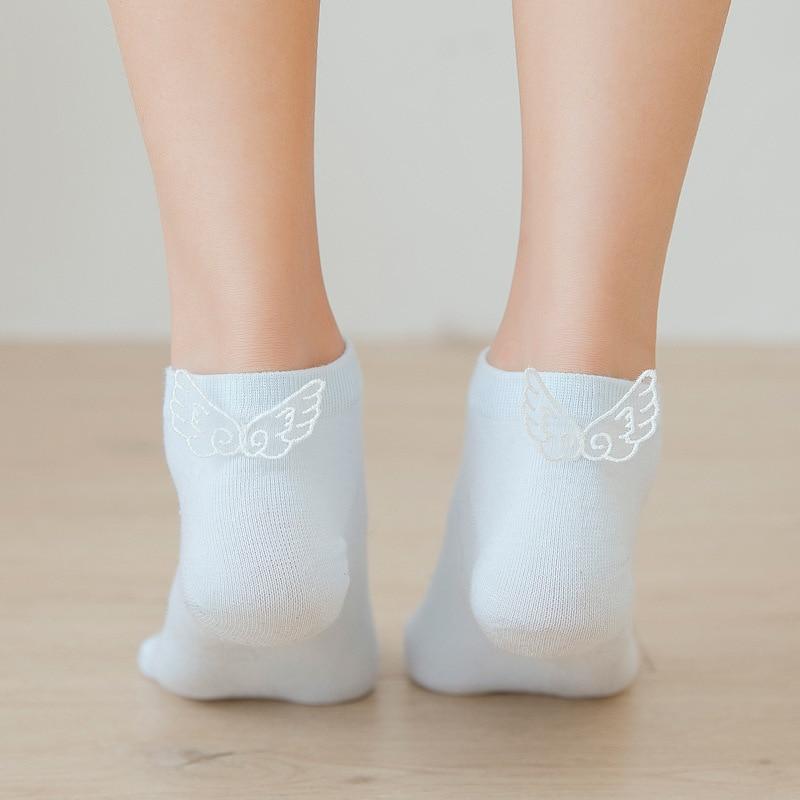 Kawaii Angel Wings  Women Socks Fashion Ankle Funny Socks Women Cotton Candy Color