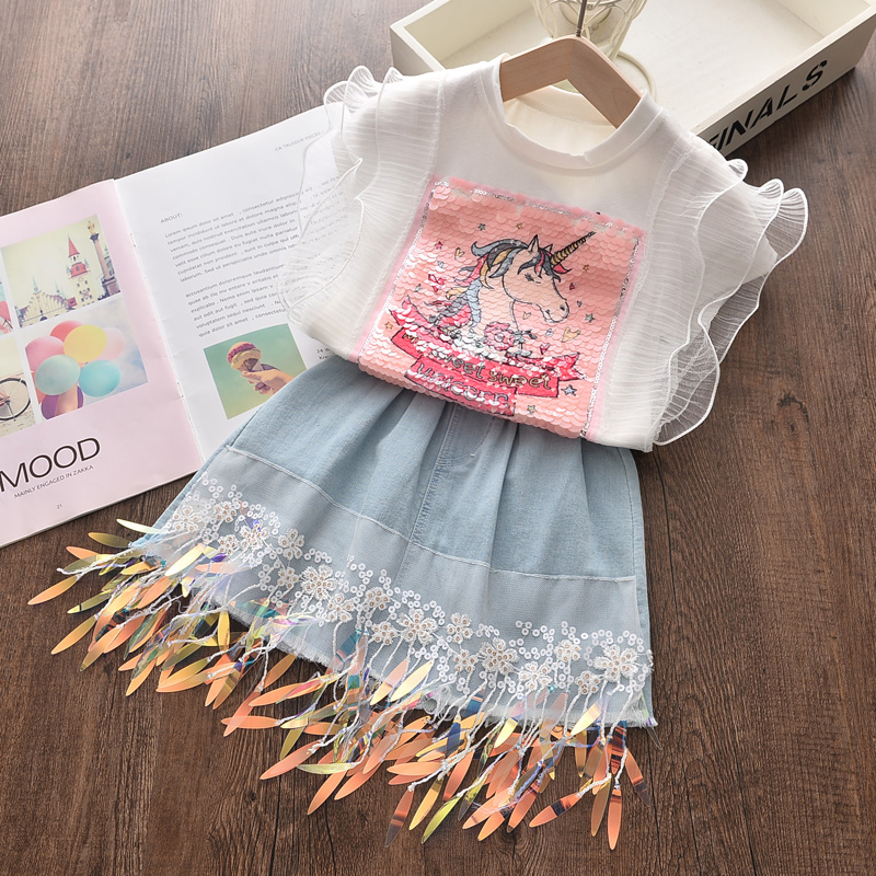 2020 Summer New Arrival Girls Fashion Cartoon 2 Pieces Suit Printed T Shirt+ Tassels Jeans Skirt Girl Set 1