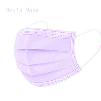 10/20/50/100/200Pcs Purple Disposable Civil Cloth Face Mask Non-woven Breathable Three-layer Mouth Mask