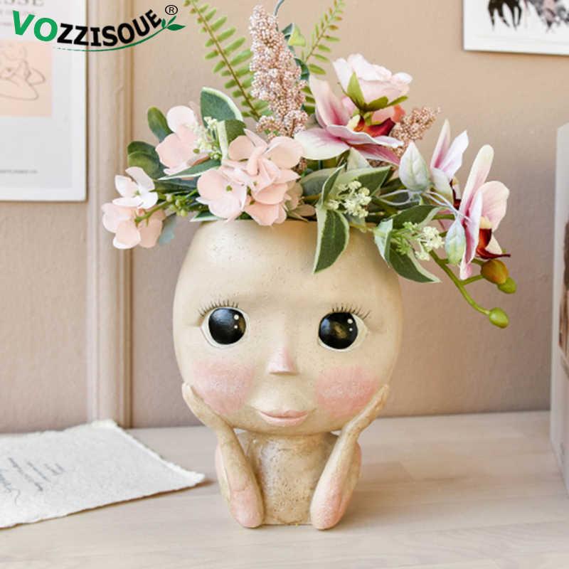 뜨거운 북유럽 예술 인간의 머리 꽃병 얼굴 꽃 냄비 인형 디자인 수지 꽃 냄비 귀여운 홈 장식 Succulents 화분 머리 모양의 꽃병