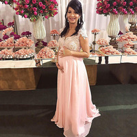 Evening Dress 2020 Lace Appliques Arabic Cap Sleeves Pink Chiffon Long Prom Dress Formal Pregnant Gowns vestido de festa