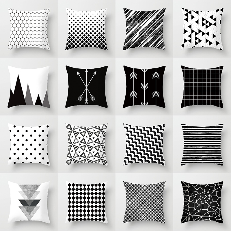 Buy 5 Get 1 Free Black and White Geometric Abstract Decorative Pillowcases Polyester Throw Pillow Case Geometric Pillowcase