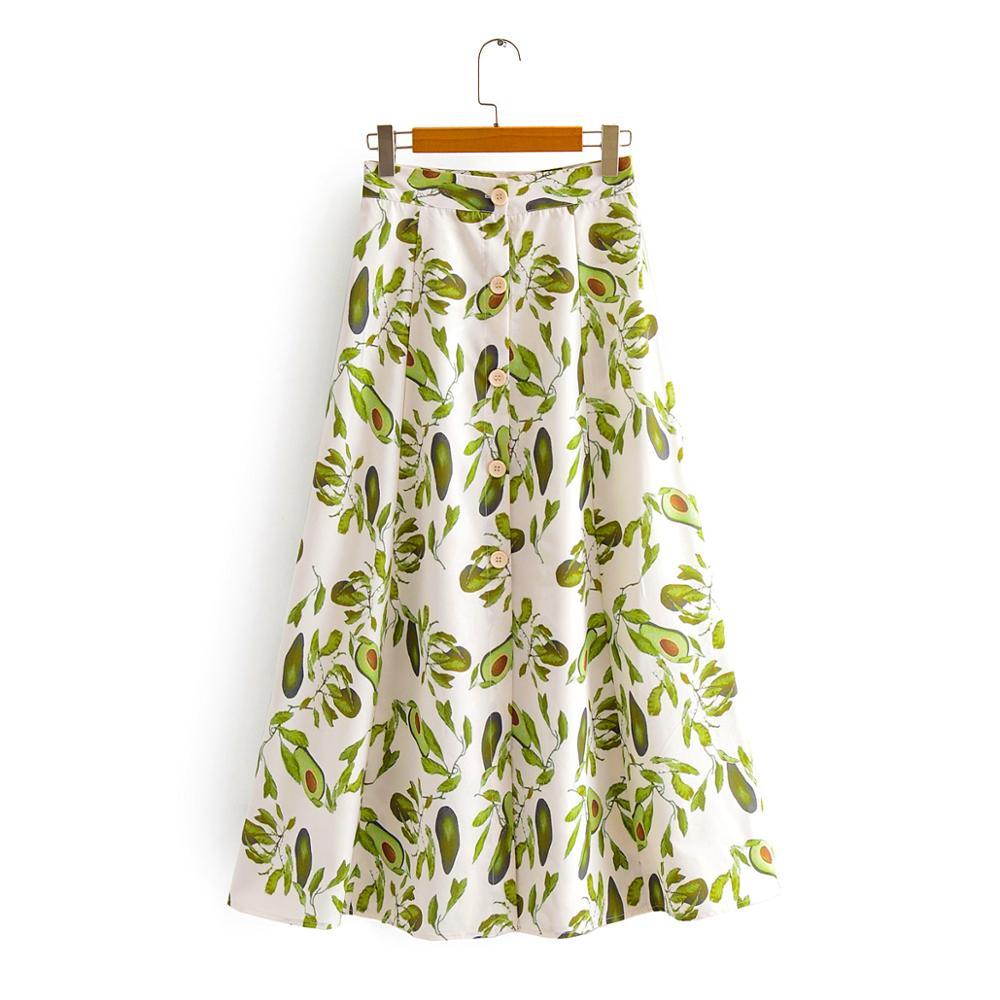 2020 Women Fashion Fresh Green Fruit Print Breasted Button Midi Skirt Faldas Mujer Lady Casual Vestidos Chic A Line Skirt QUN591